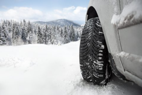 snow tires in snow